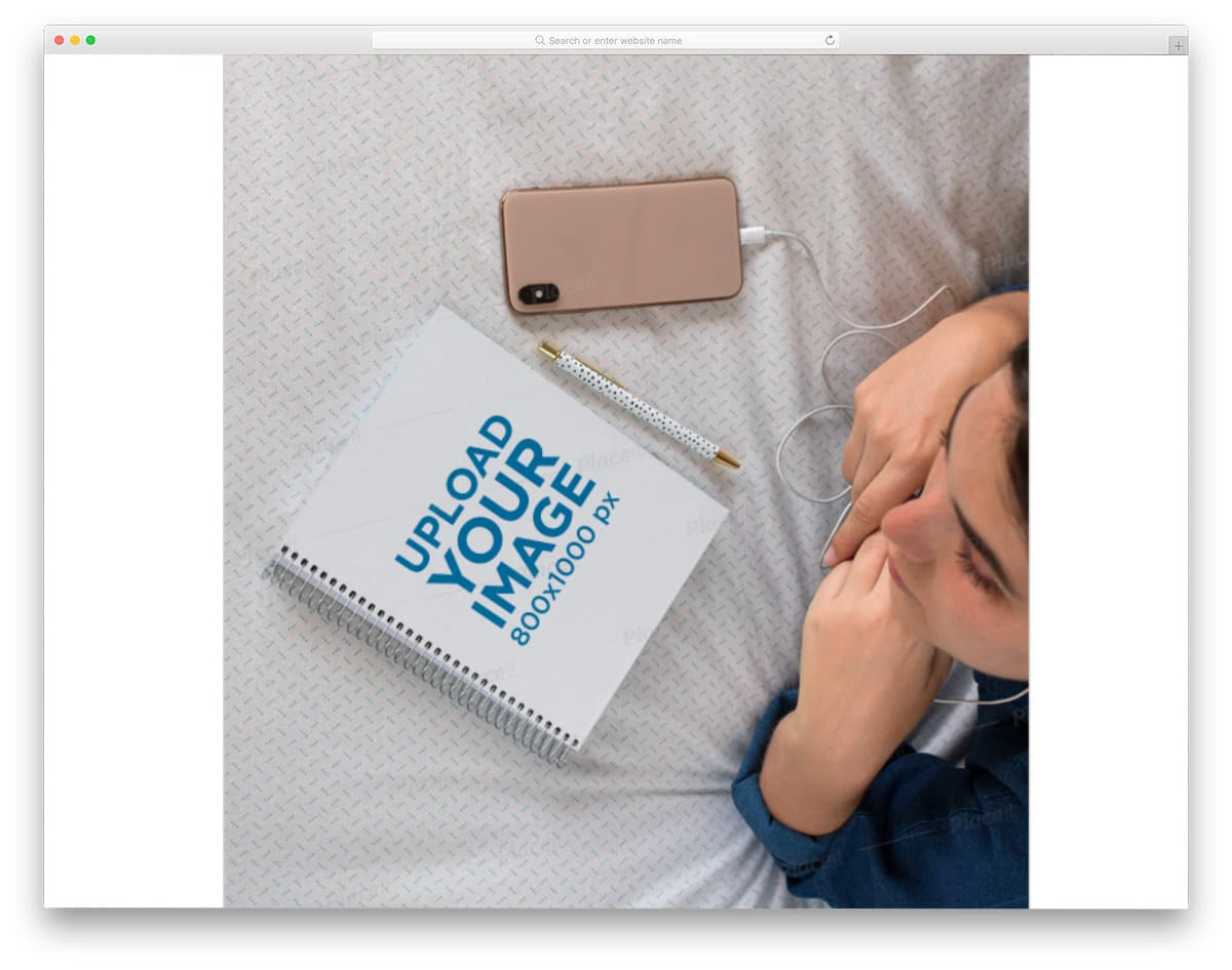 spiral notebook mockup with female model