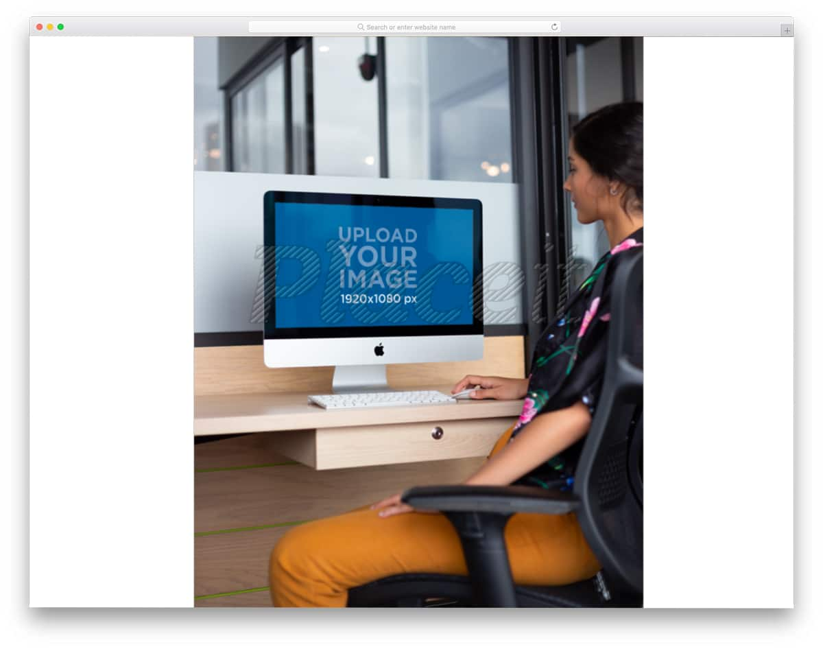 computer mockup of a woman using it