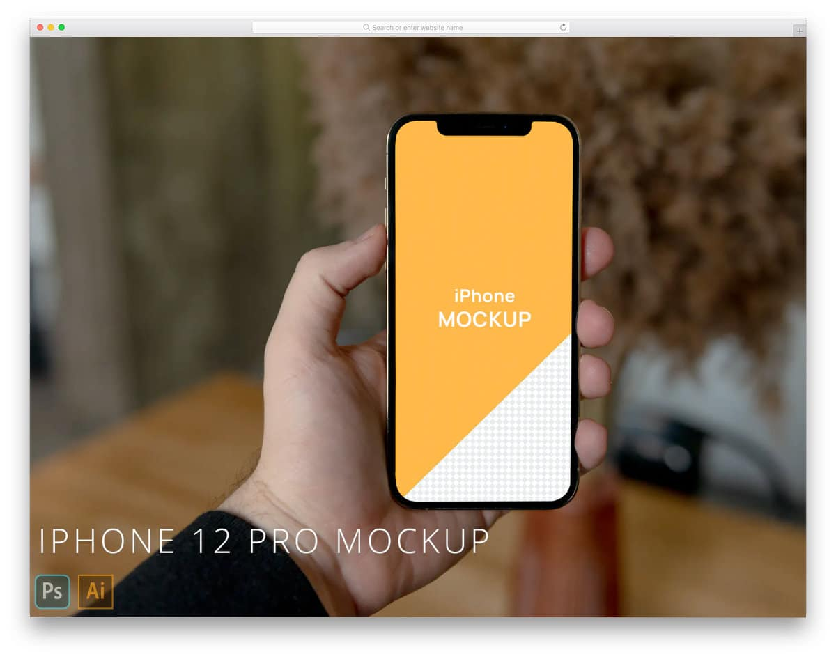 iPhone 12 in Hand Mockup PSD