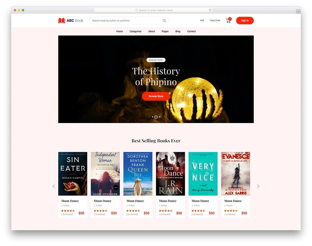 online bookstore website template