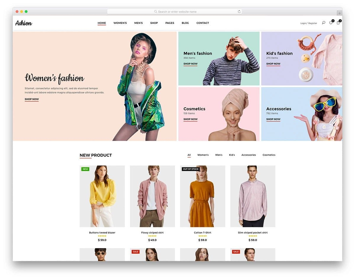 well-organized women's clothing website template