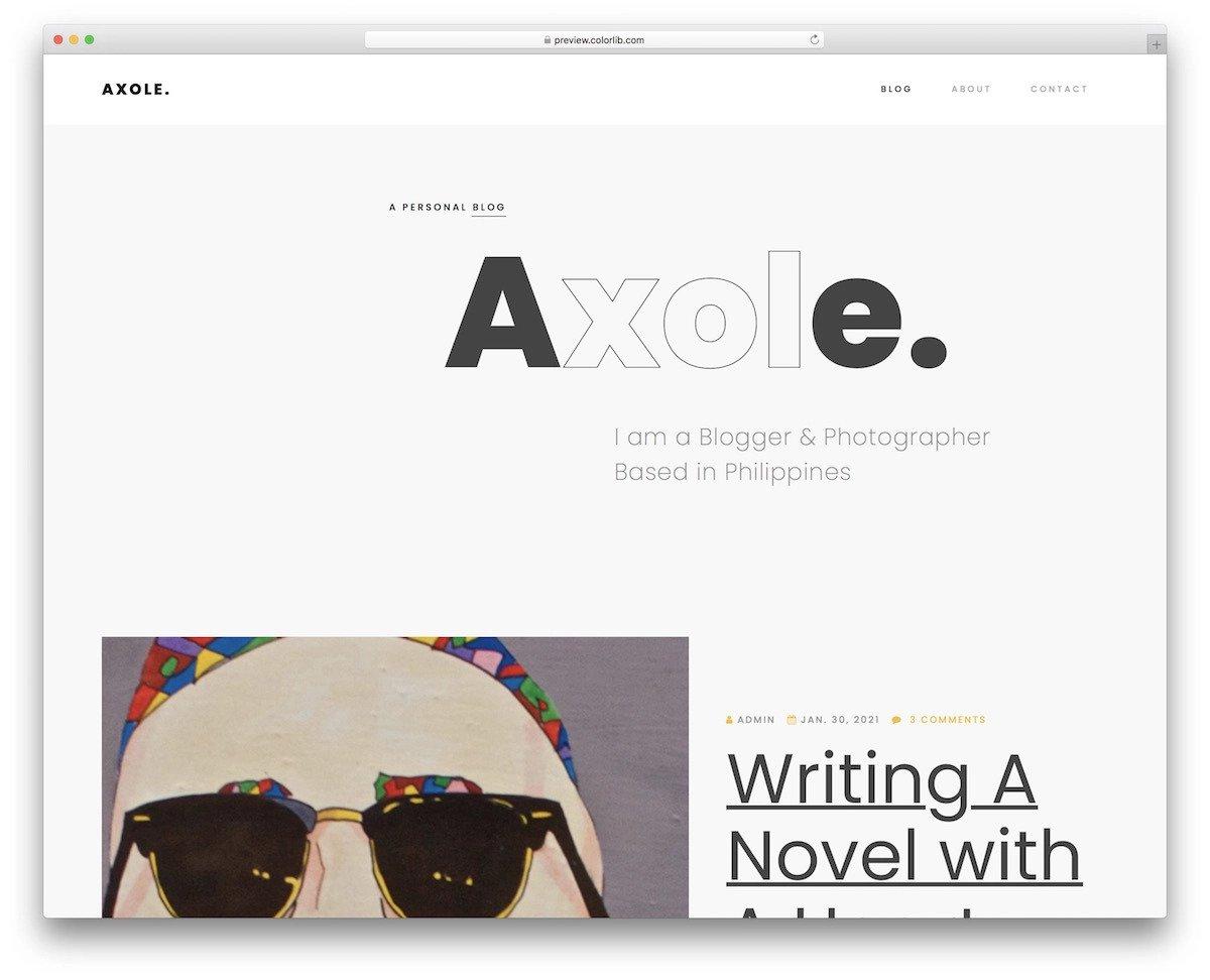 creative writer personal website template