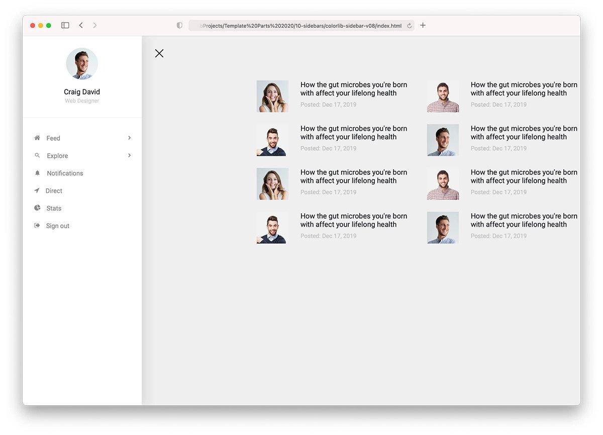 bootstrap sidebar menu with submenu template free download