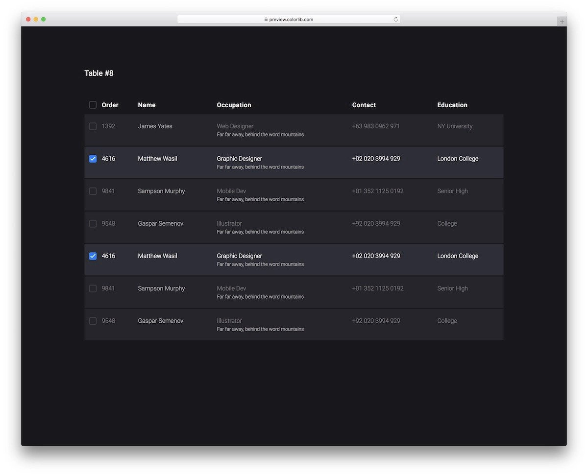 dark bootstrap datatable template