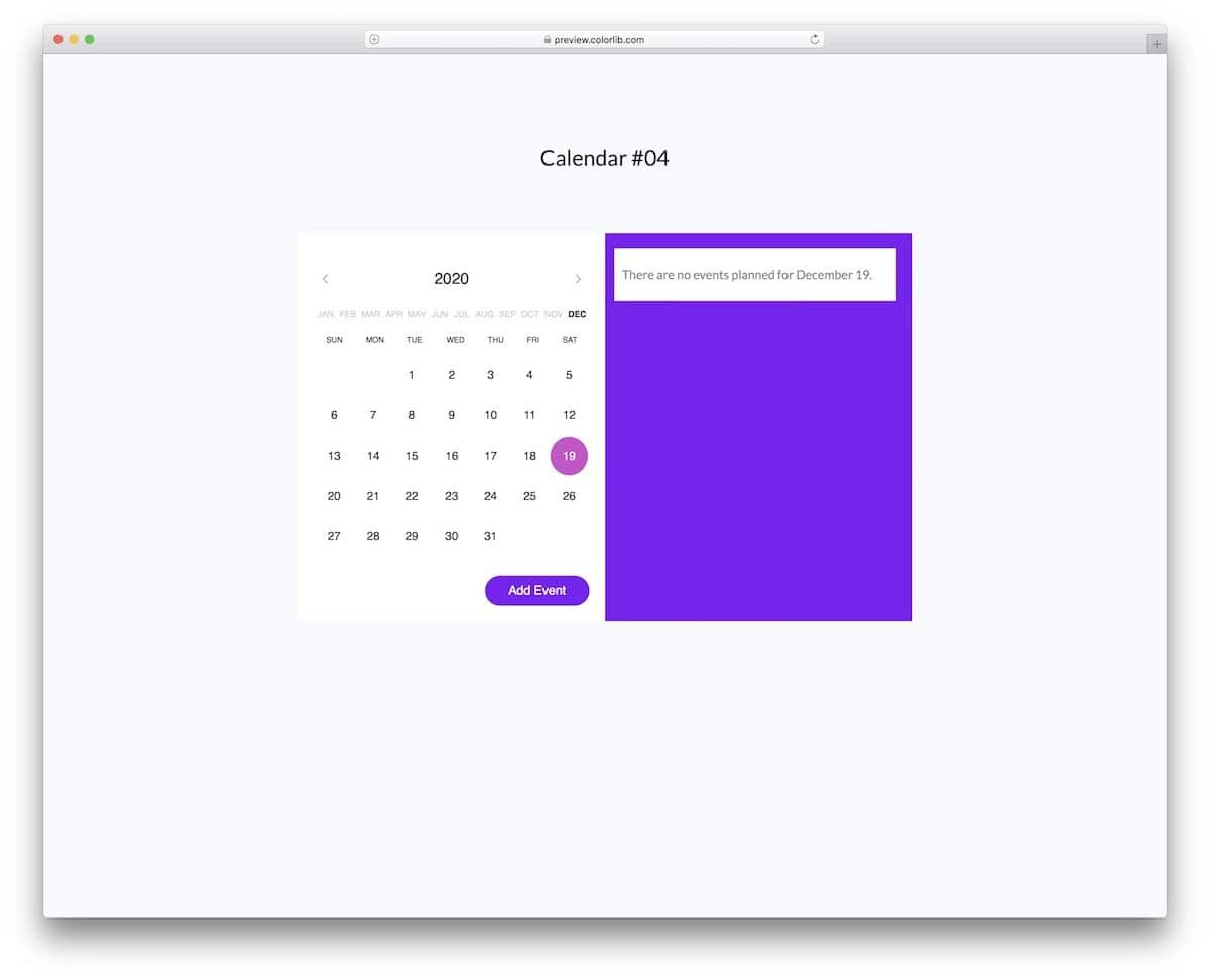 HTML calendar with events