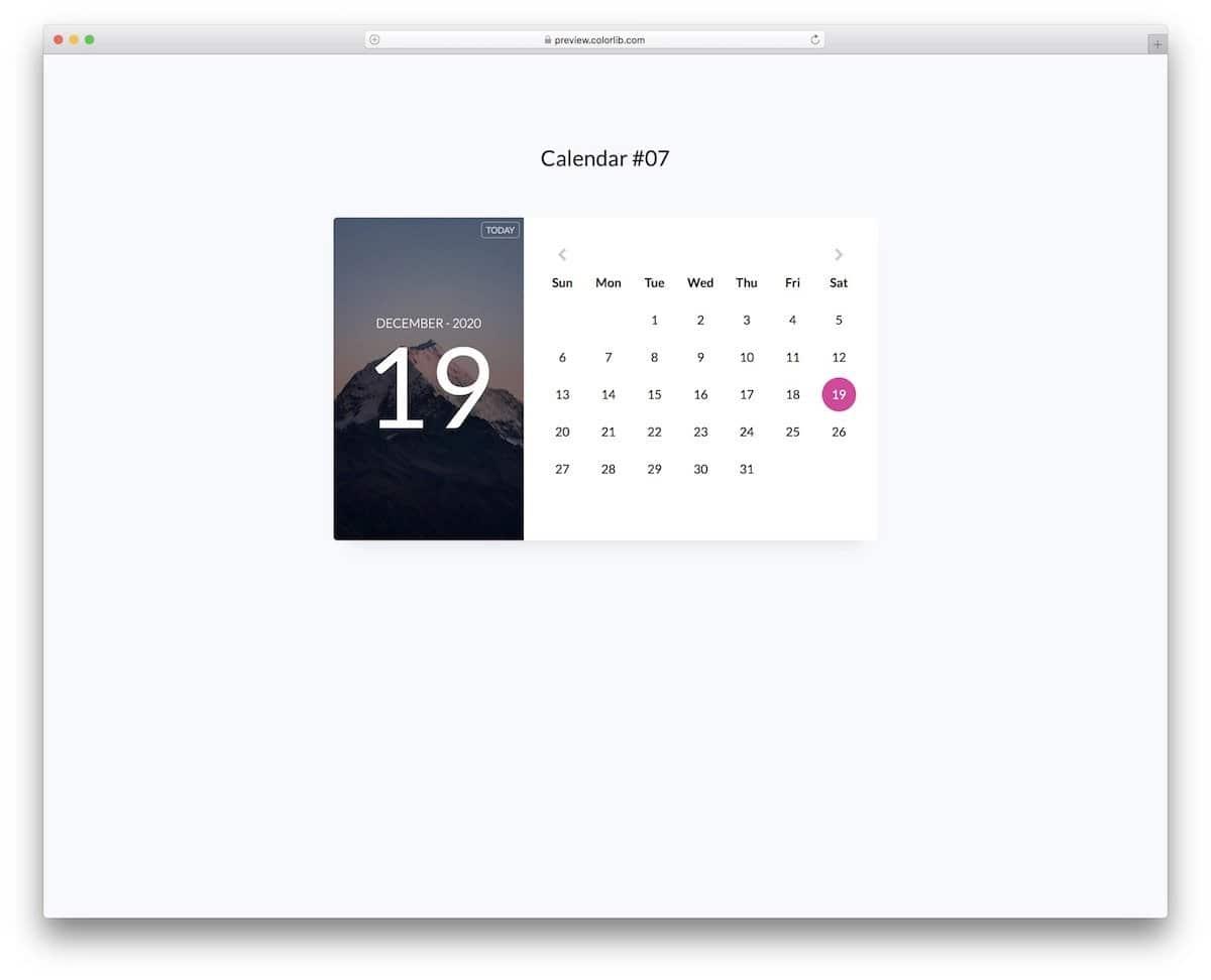 Bootstrap HTML calendar widget template