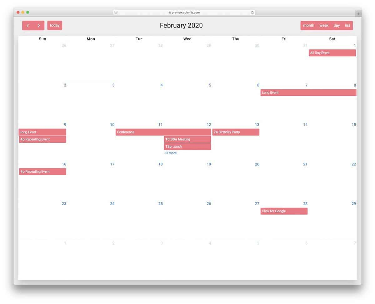 full page HTML calendar template