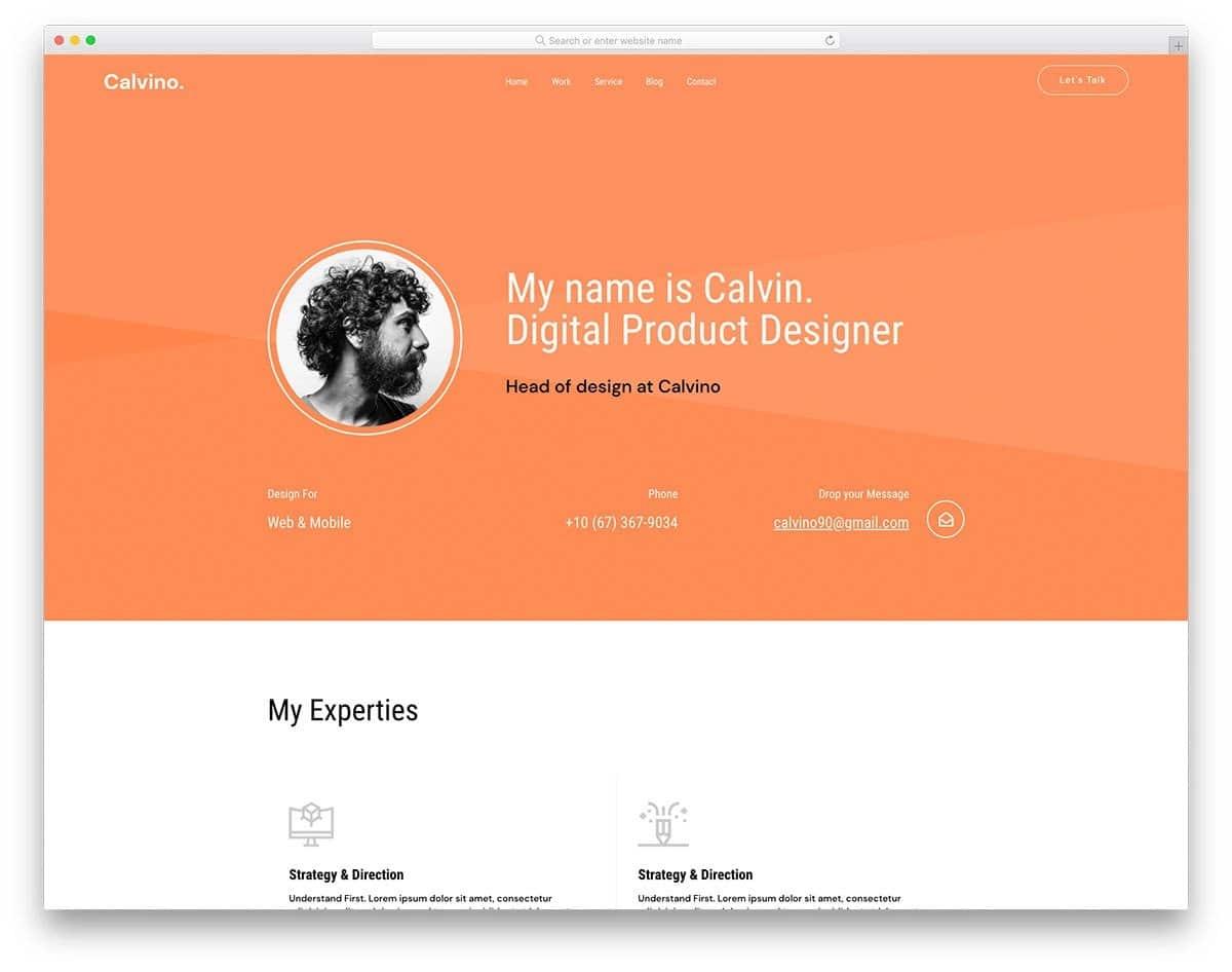 software developer personal website template