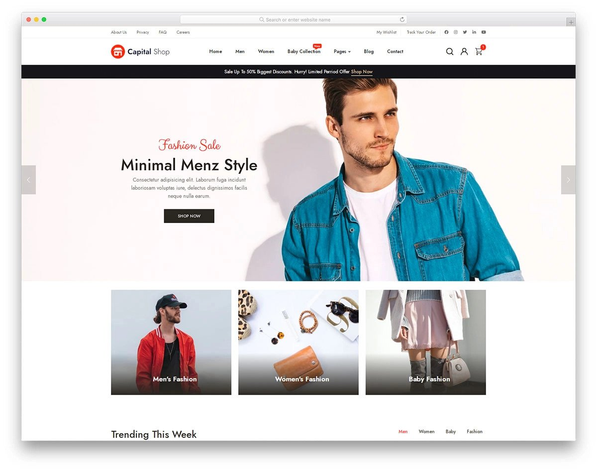 eCommerce fashion website template with friendlier design