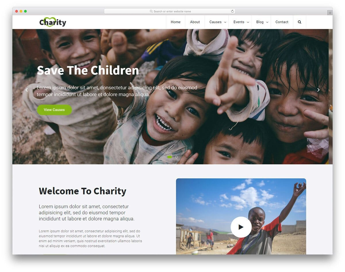 modern non-profit and church website template