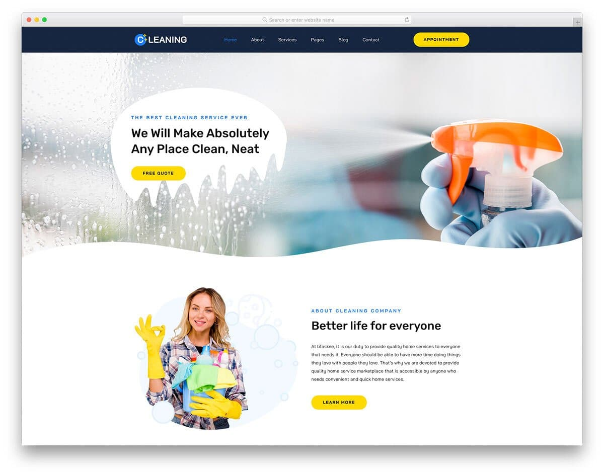 simple website template is for cleaning services business websites