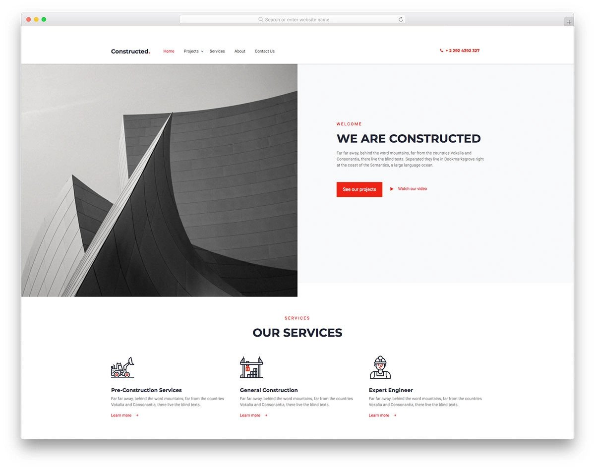 clean website design template for architects
