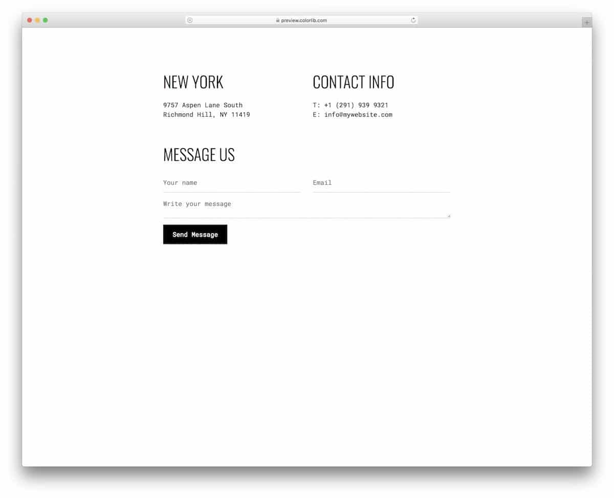 casual contact page template