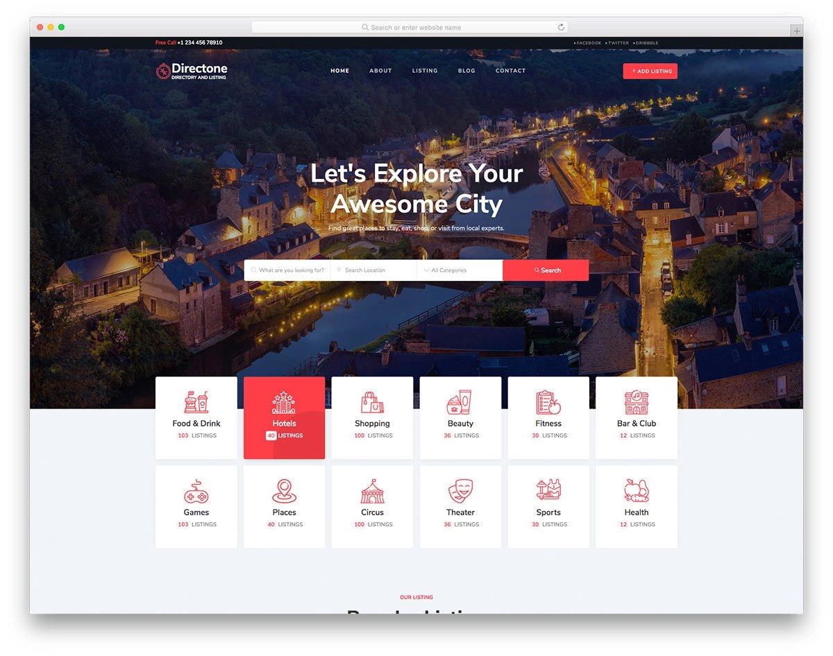 directory listing website template