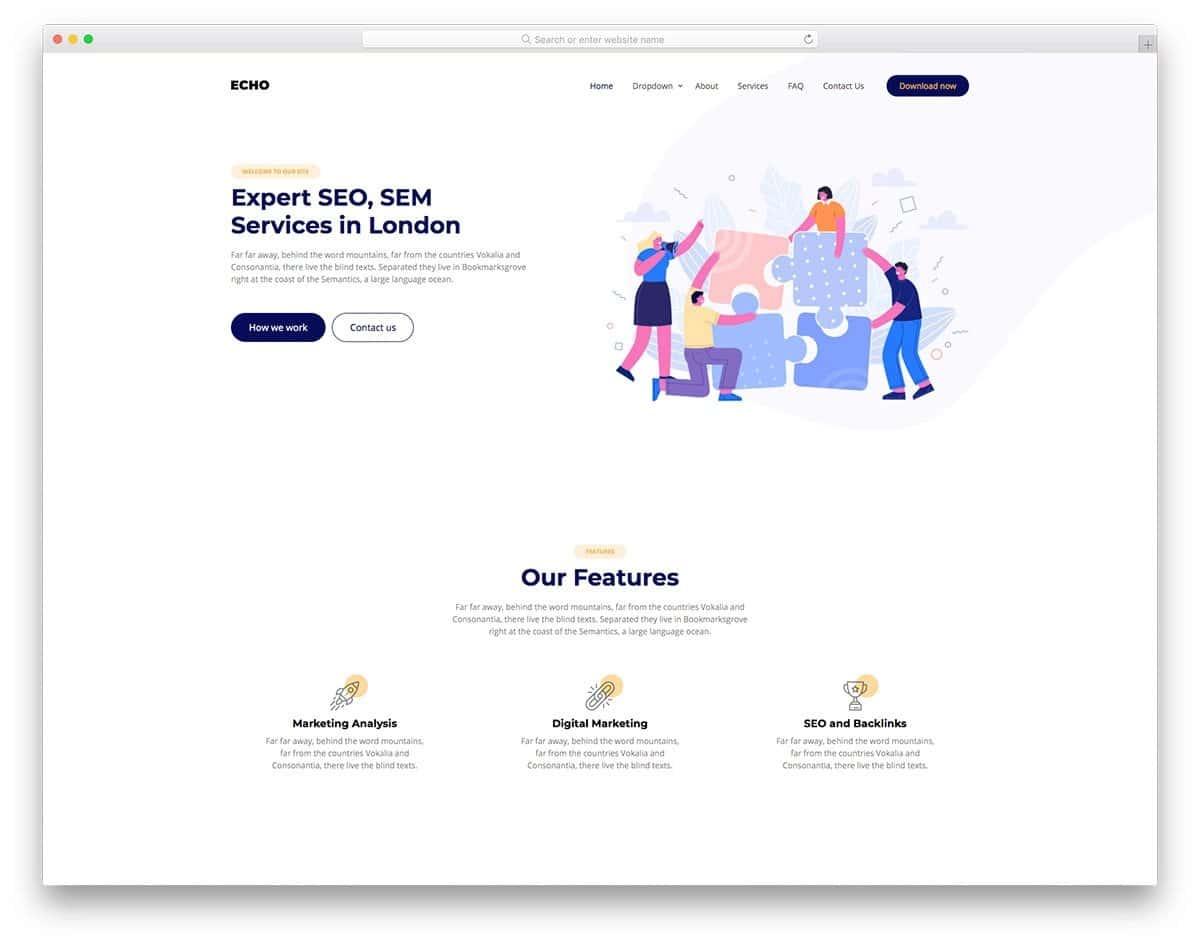 clean website design for SEO agencies