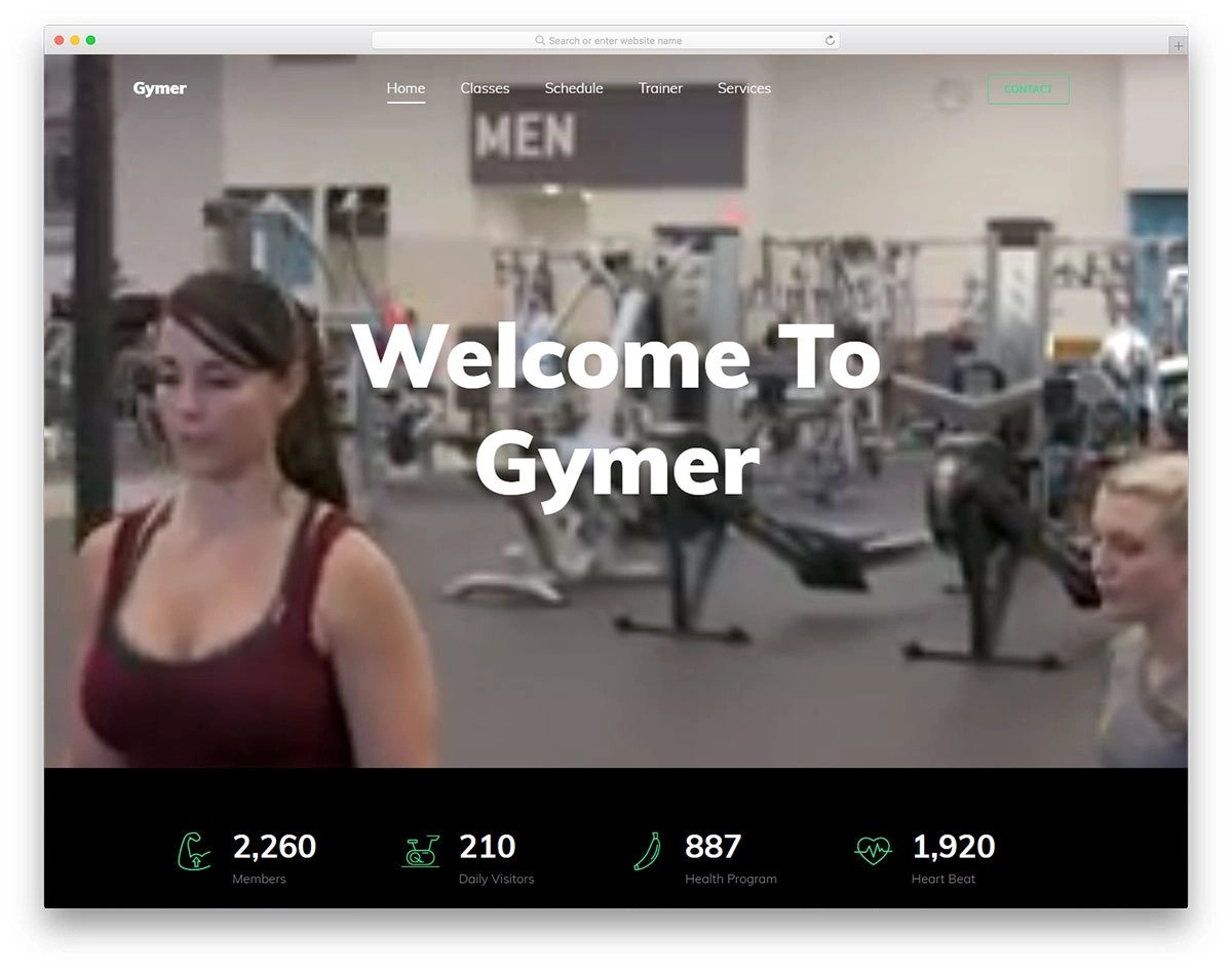 video background fitness website template