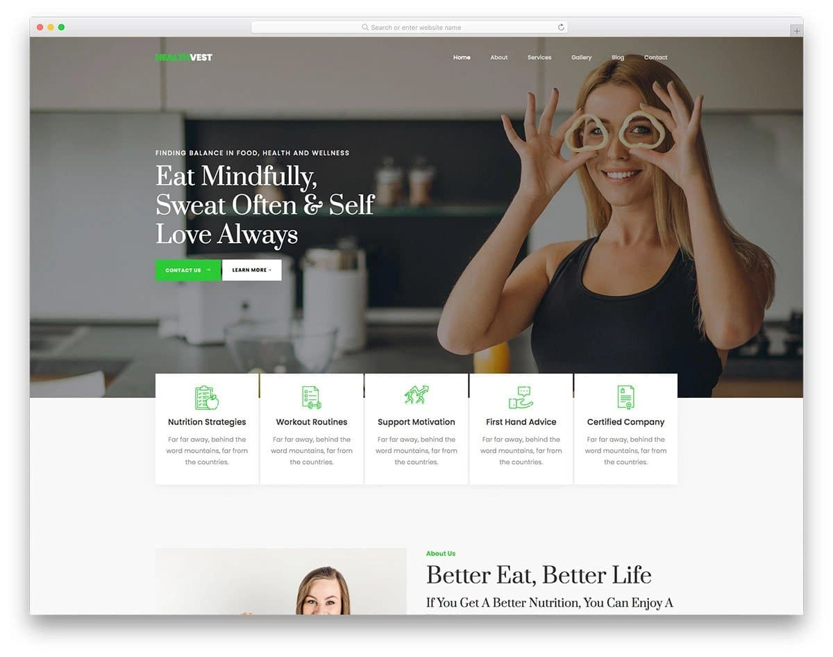Bootstrap 5 health and fitness website template