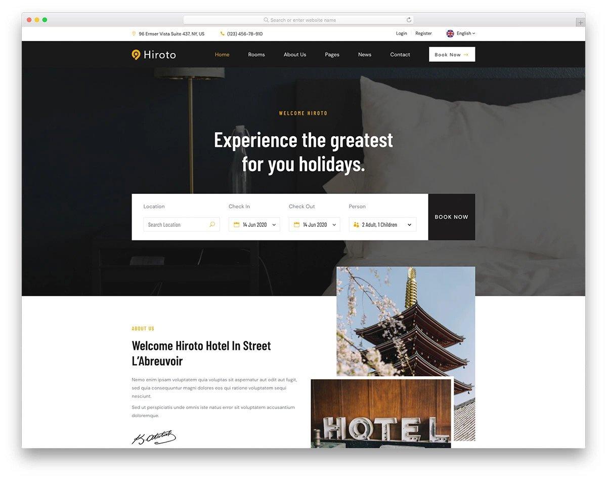 simple hotel website template