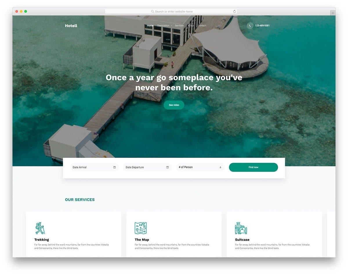 modern hotel and resort website template