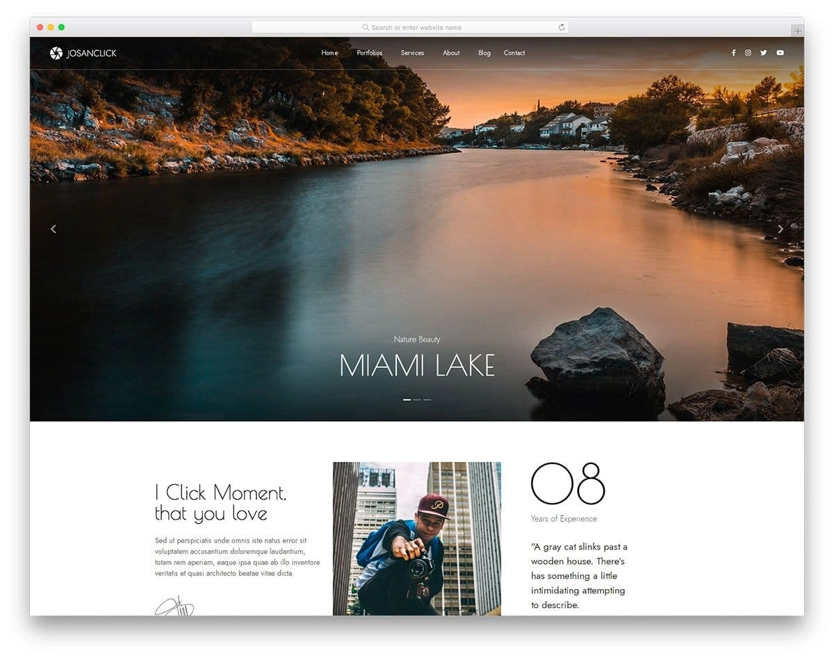 photographer and visual artist website template
