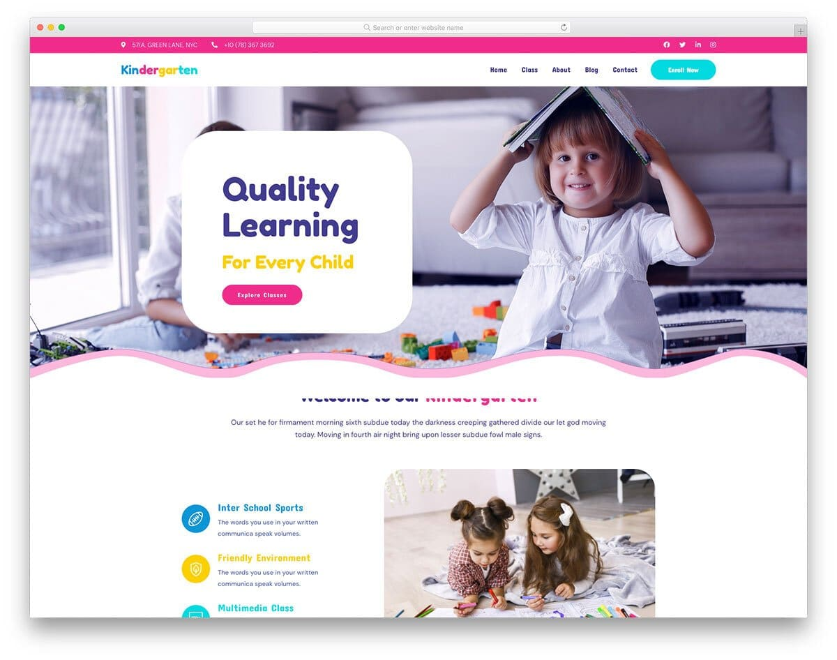 fun to use kids education website template