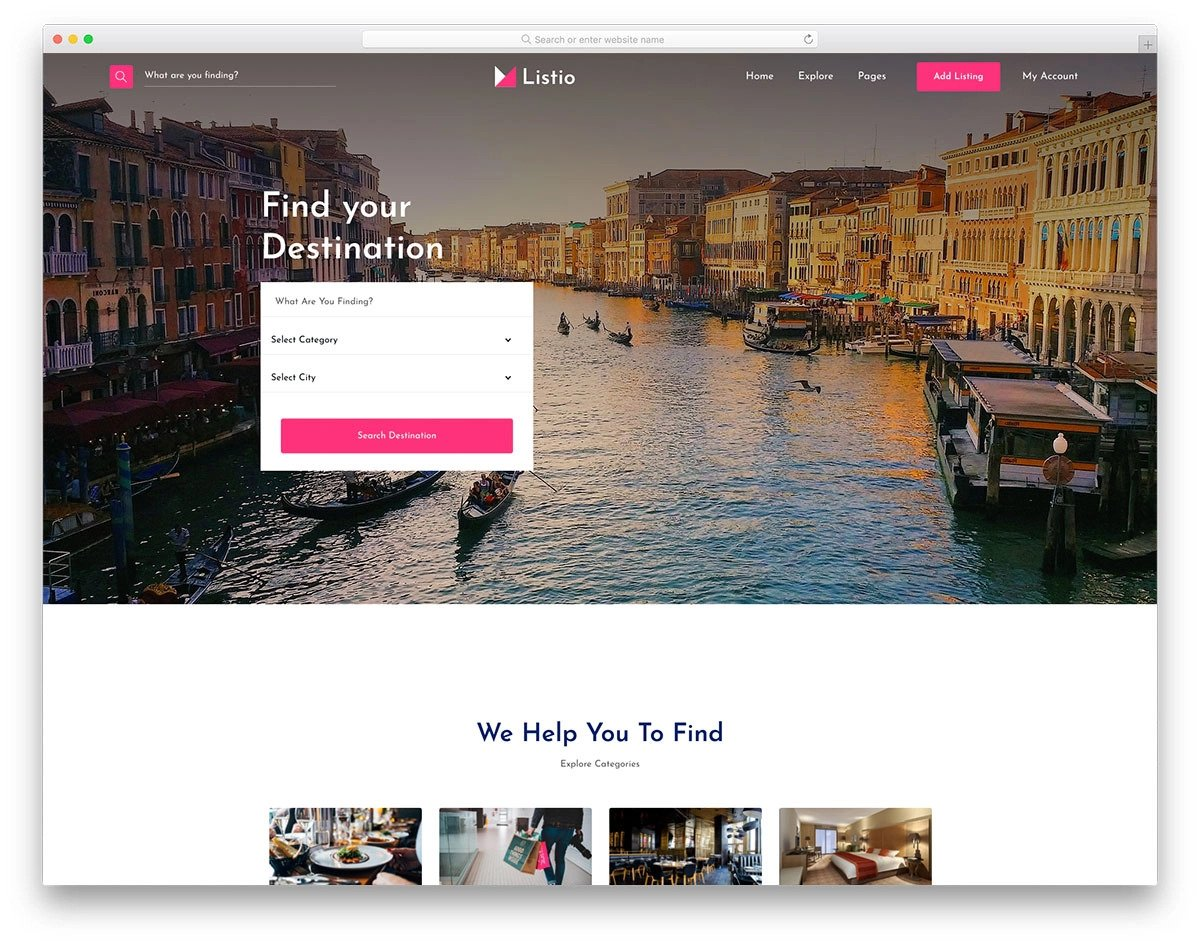 directory website template for local business and places listing