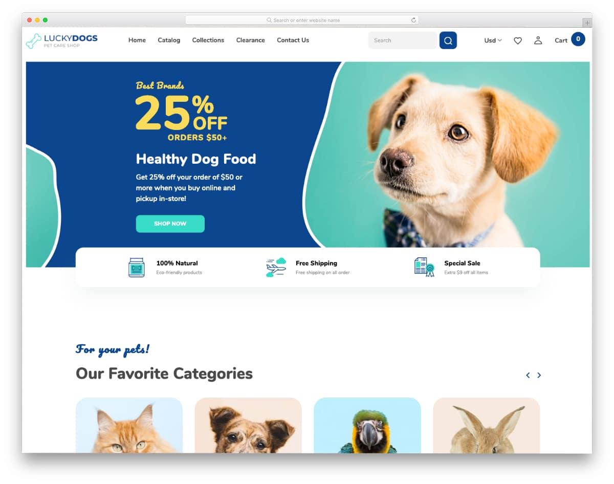 responsive pet store Shopify theme