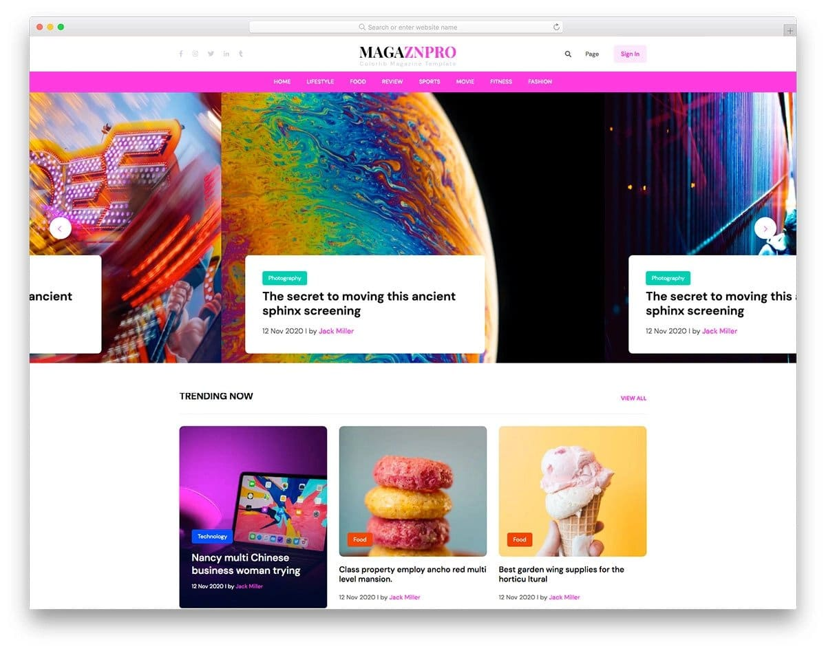 image-rich magazine and news website template