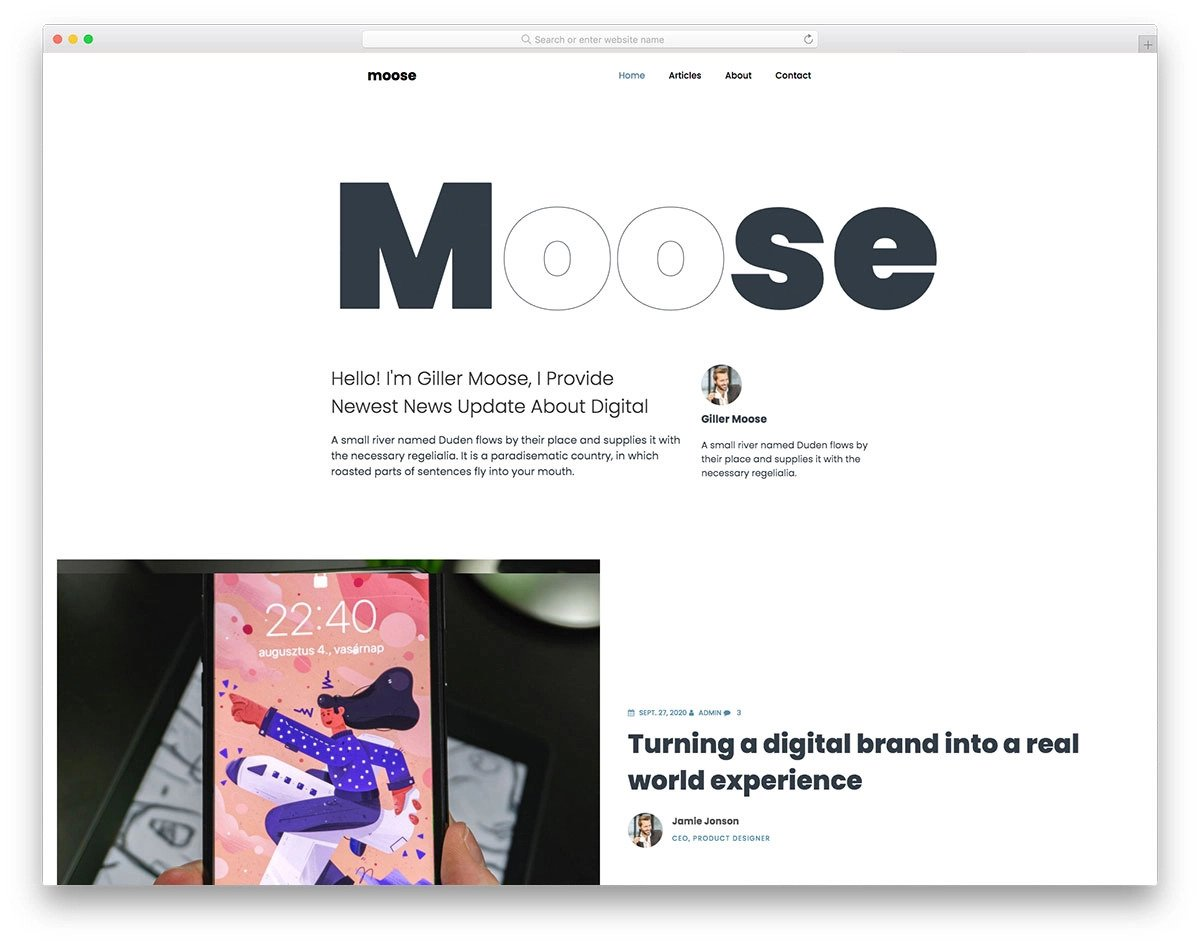 bootstrap minimal website template for personal blogs