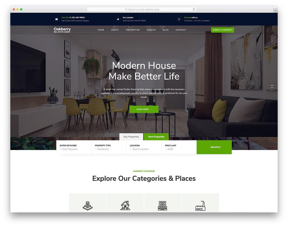 modern bootstrap real estate website template