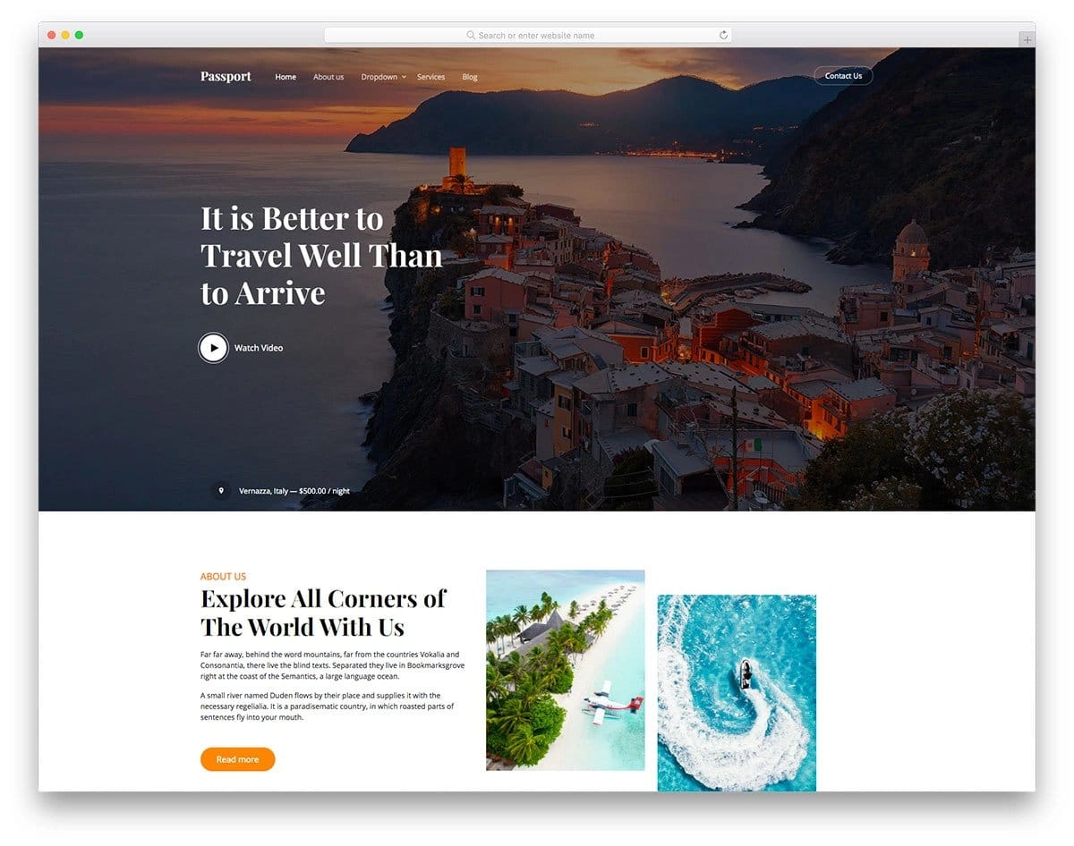 content-rich HTML travel agency website template