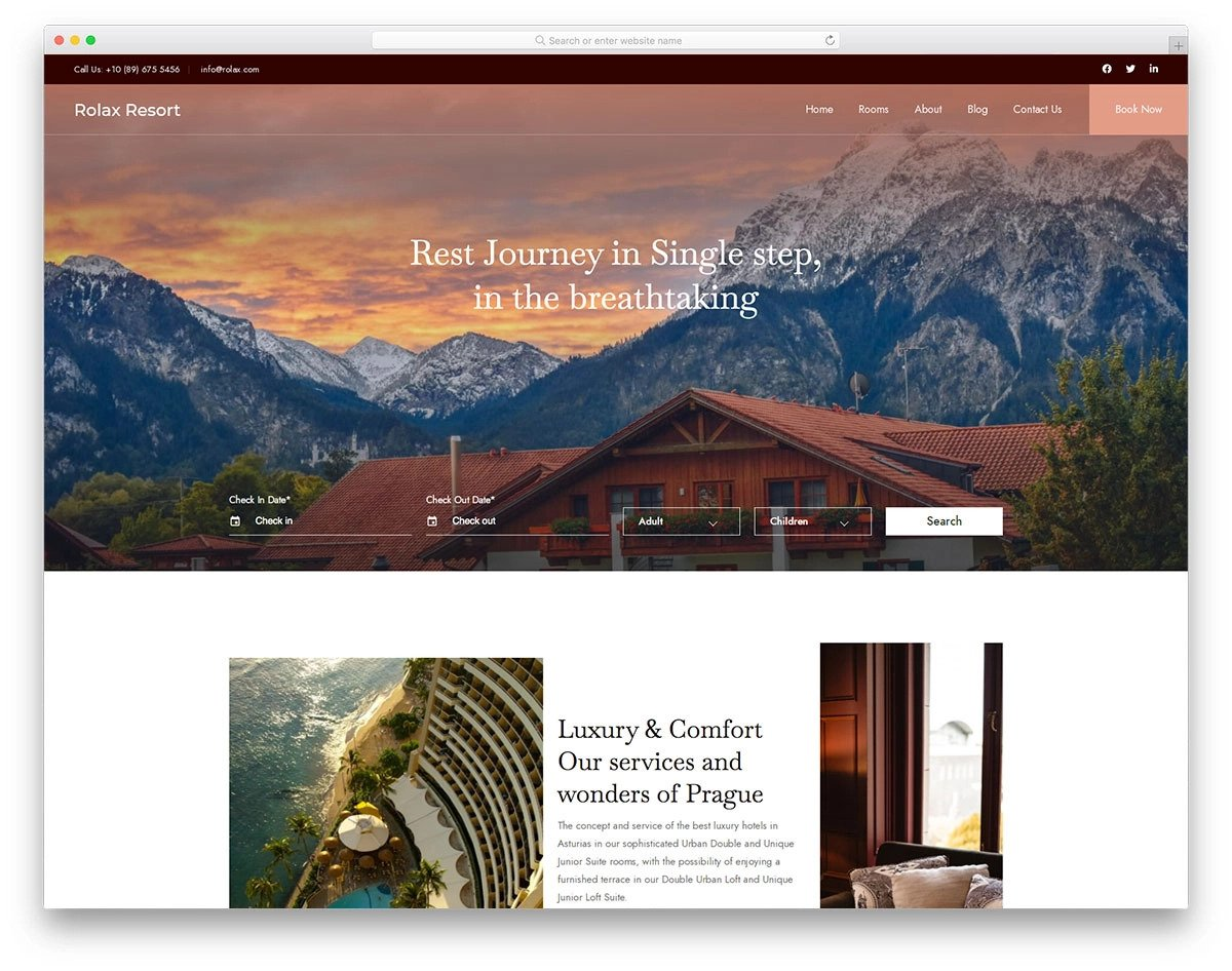 bootstrap 5 hotel website template