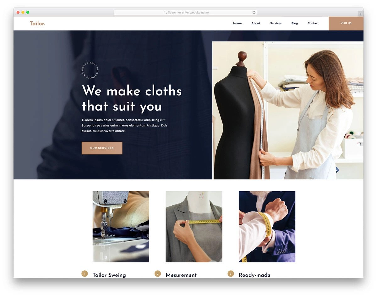 modern fashion website template for tailors and fashion designers