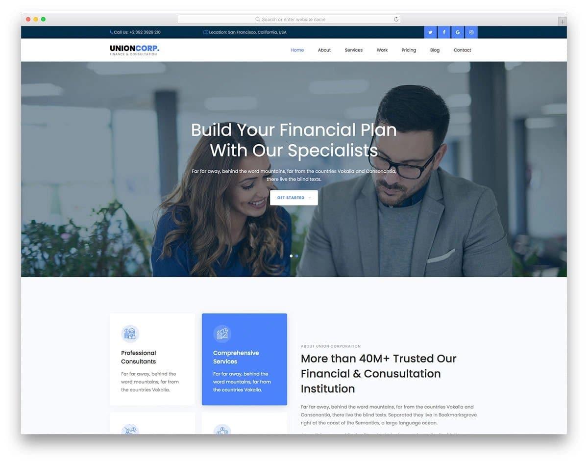 Bootstrap 5 finance website template