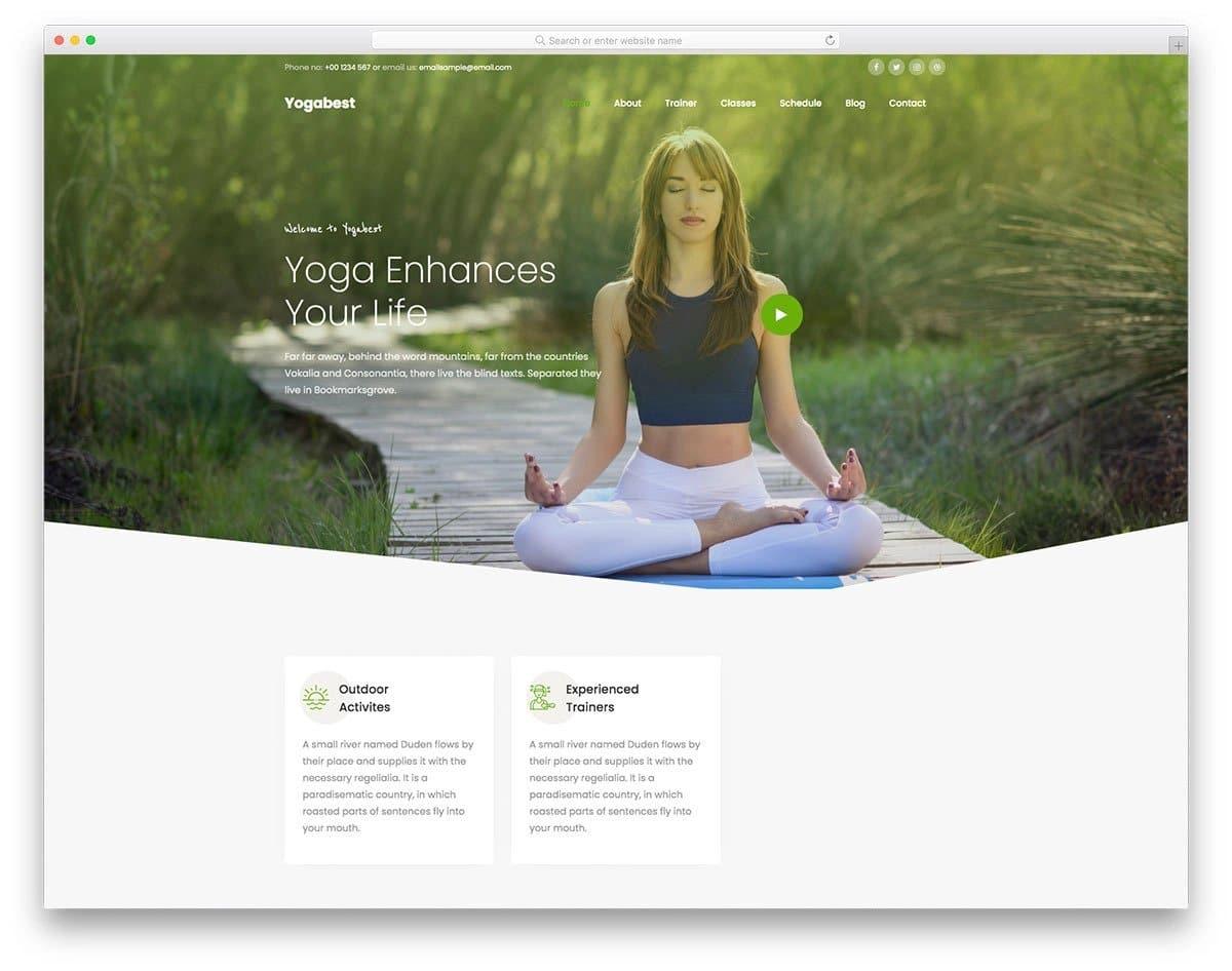 HTML5 yoga website template