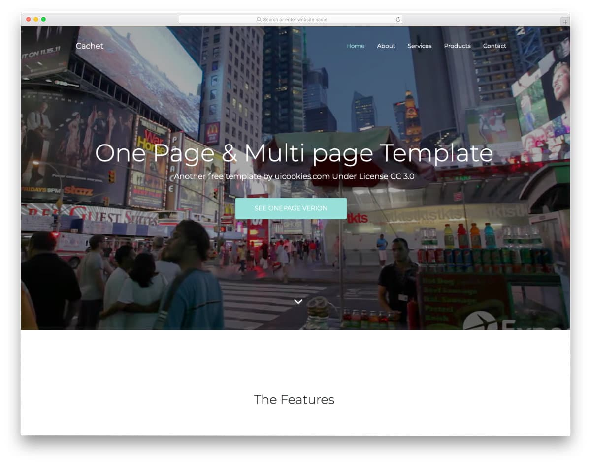 free one page church website template