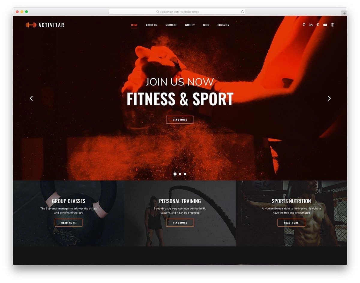 image-rich fitness website template