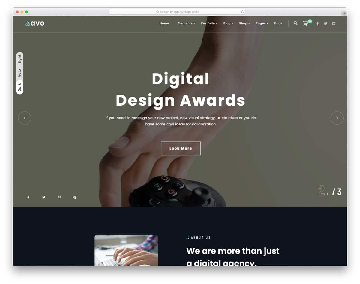 best darktheme digital agency WordPress theme