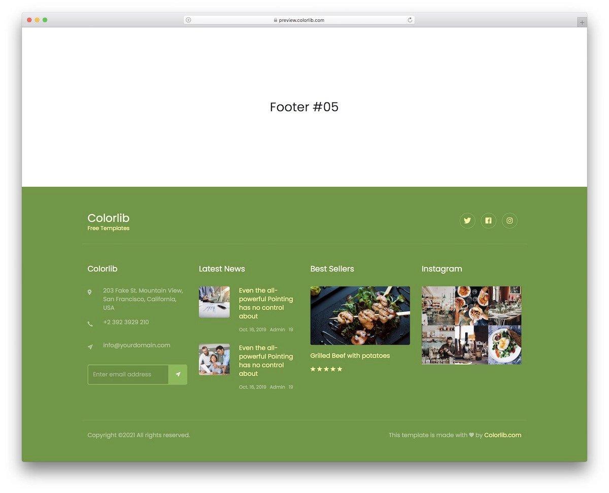 widget-rich Bootstrap footer design example
