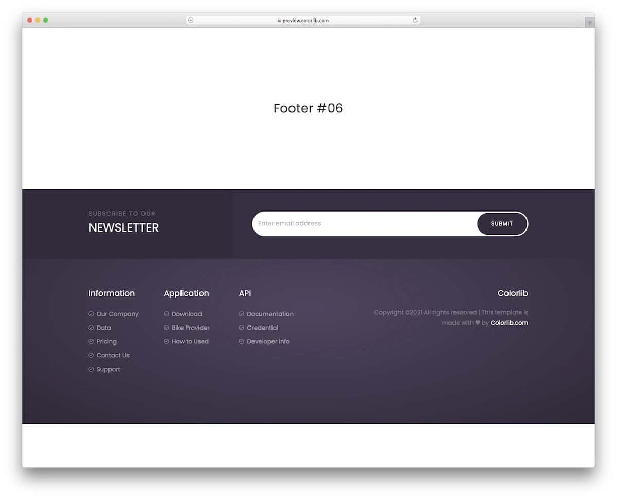 Bootstrap 4 footer with a newsletter signup form