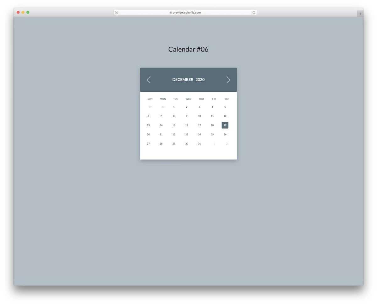 colorful CSS calendar template