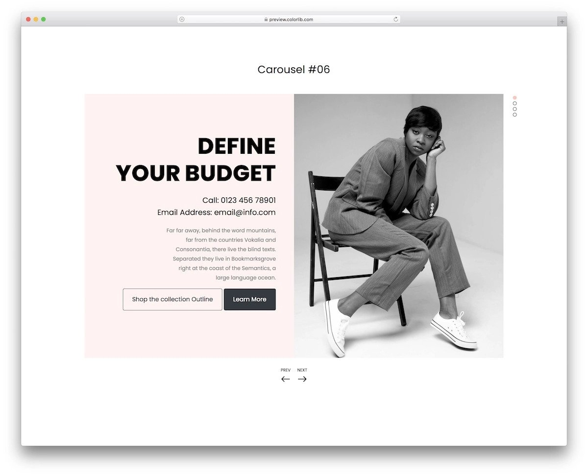 interactive bootstrap carousel