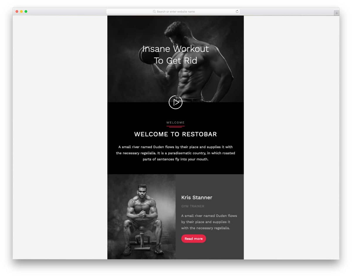 free MailChimp email template for fitness studios