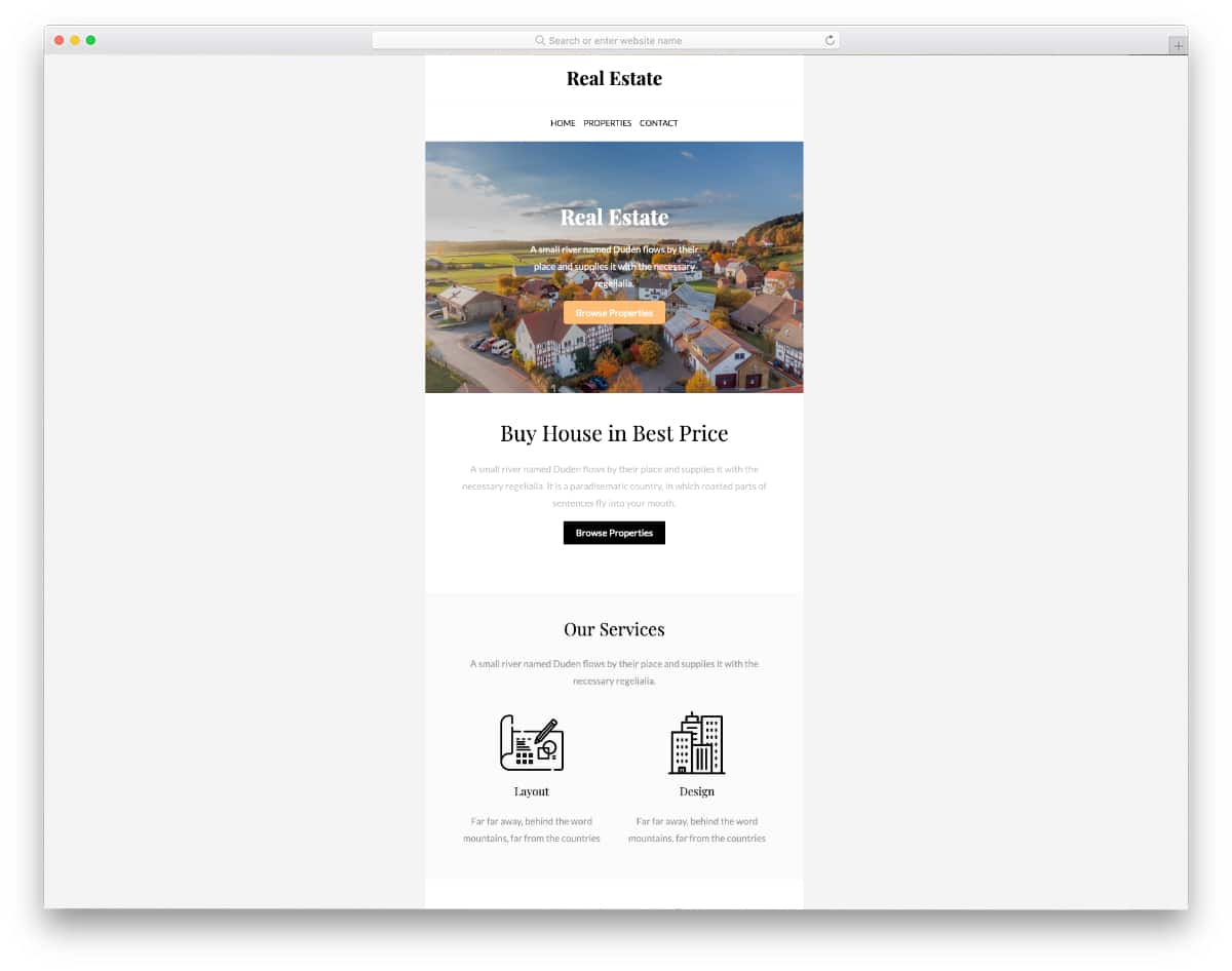 email template is for the real estate business