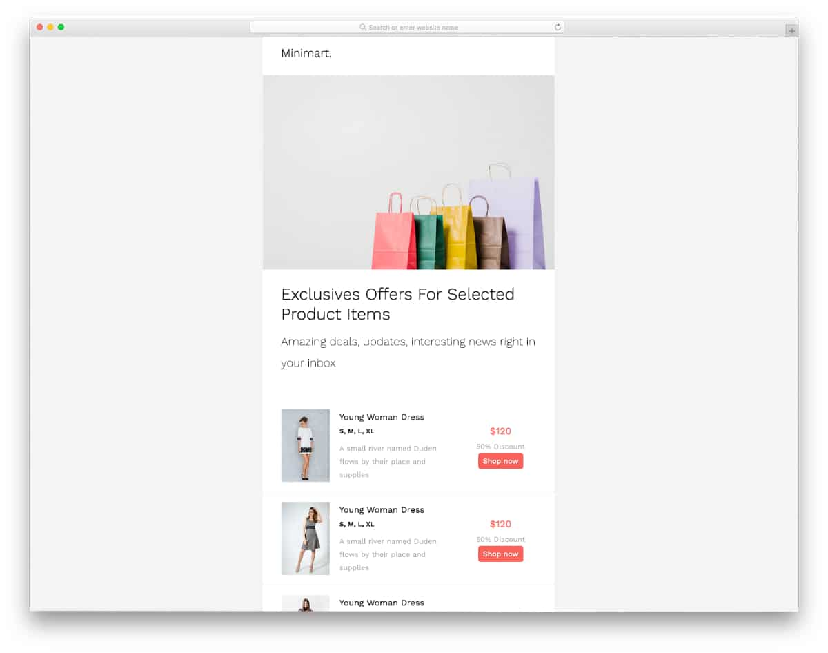 free MailChimp template for eCommerce store owners