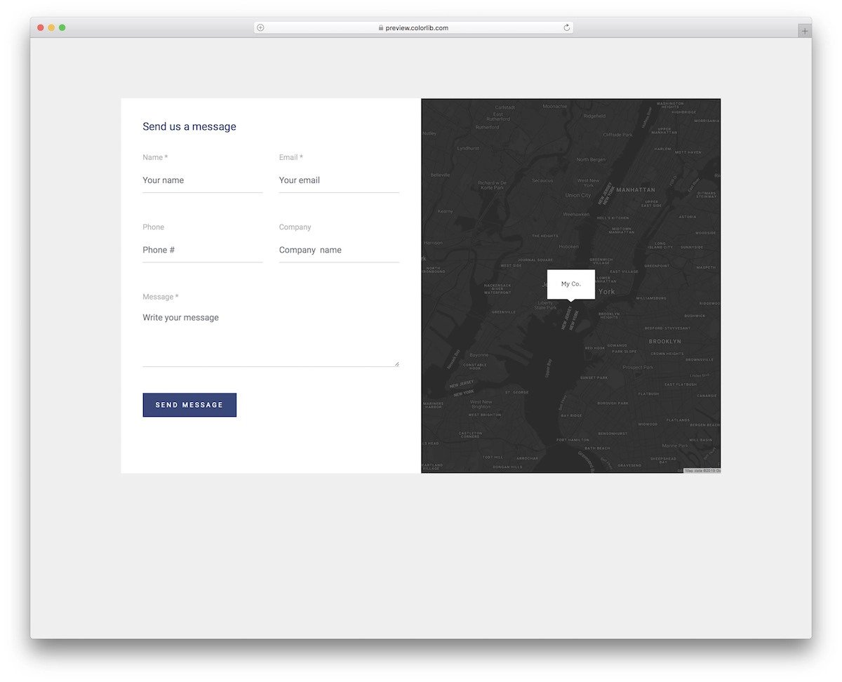 contact form template with map