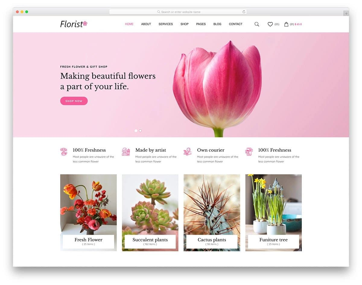 ecommerce website template for nurseries and flower shops
