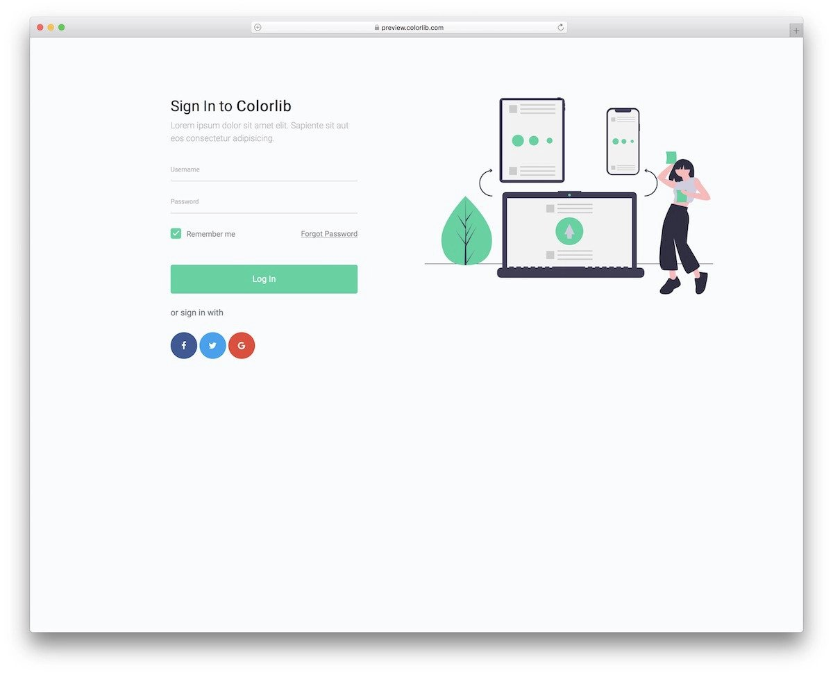 modern bootstrap login page template