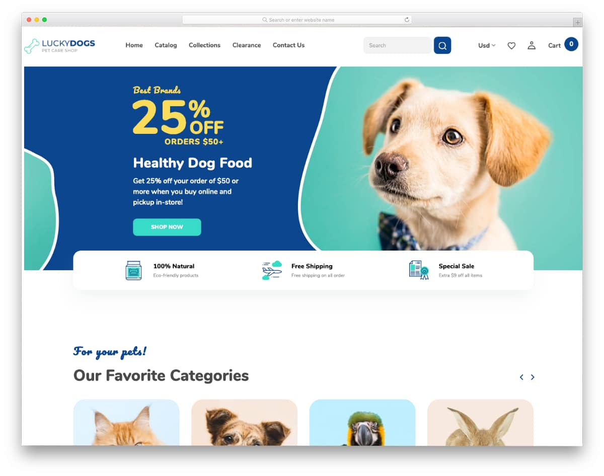 bootstrap shopify theme for pet stores