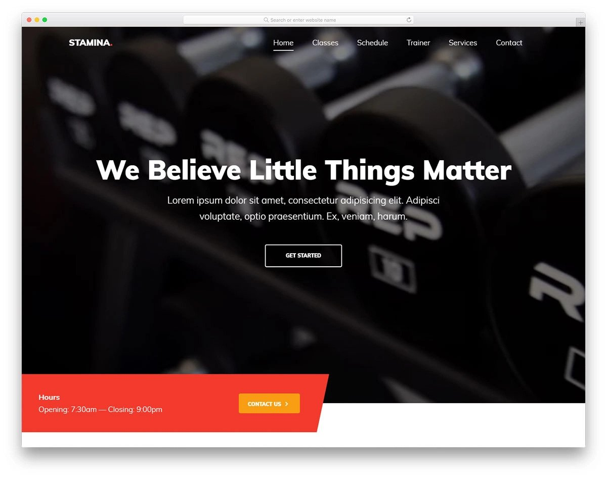 one-page fitness website template